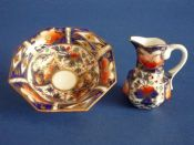 Rare Bloor Derby Imari Pattern Miniature Toy Jug and Basin c1830